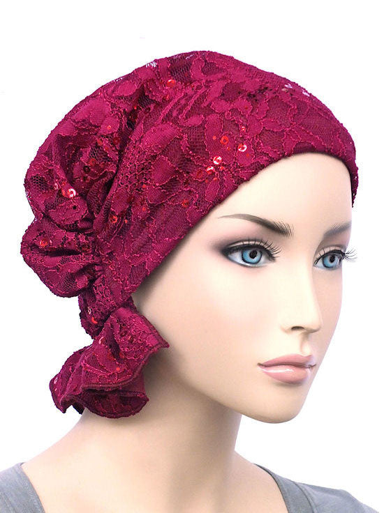 chemo beanie abbey cap in lace sequin plum 572