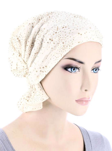 ABBEY-612#The Abbey Cap in Ivory Gold Glitter