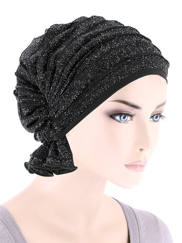 ABBEY-694#The Abbey Cap in Ruffle Black w/Silver Shimmer