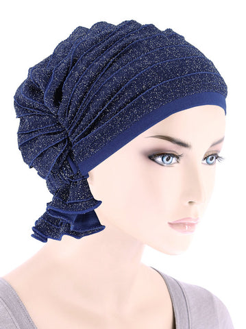 ABBEY-695#The Abbey Cap in Ruffle Blue w/Silver Shimmer