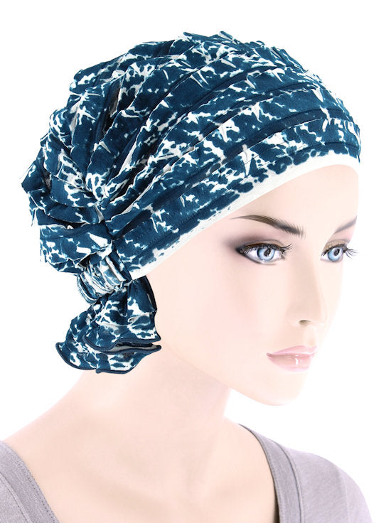 ABBEY-696#The Abbey Cap in Ruffle Teal Blue Abstract