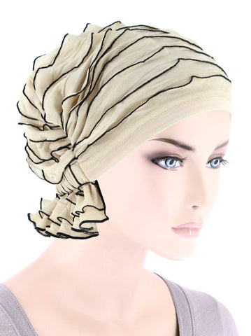 ABBEY-698#The Abbey Cap in Ruffle Cream w/Black Trim