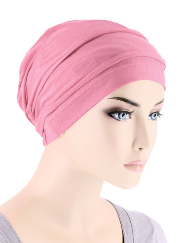 BBPCAP-PINK#Lux Bamboo Pleated Cap in Cashmere Pink