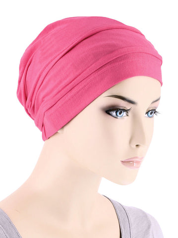 BBPCAP-HOTPINK#Lux Bamboo Pleated Cap in Hot Pink
