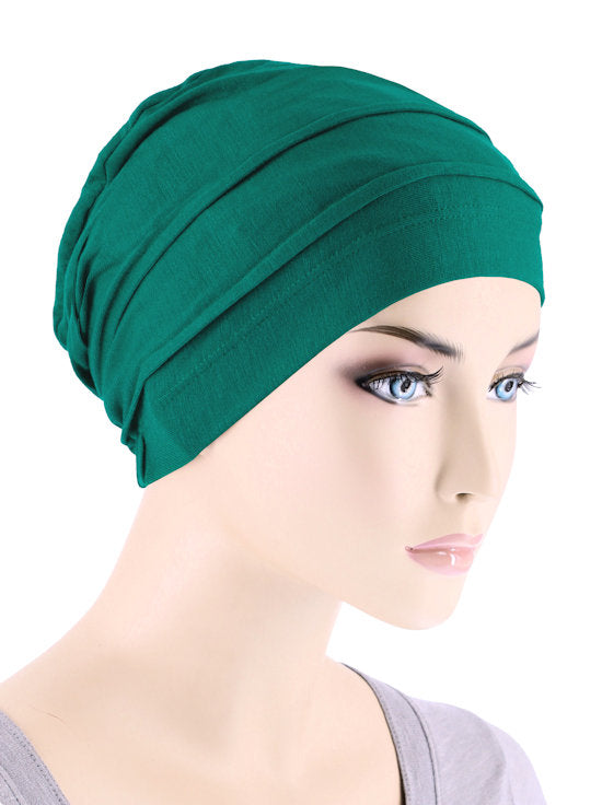 BBPCAP-GREEN#Lux Bamboo Pleated Cap in Emerald Green