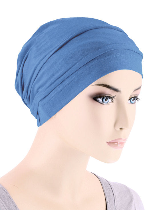 BBPCAP-PERIWINKLE#Lux Bamboo Pleated Cap in Periwinkle Blue