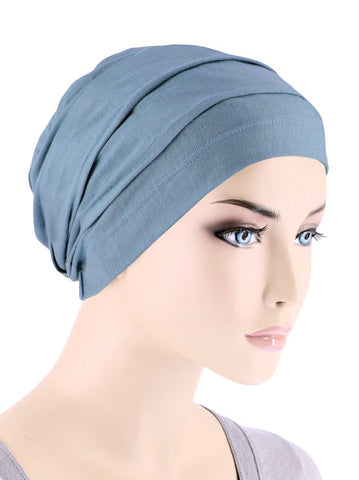 BBPCAP-DUSTYBLUE#Lux Bamboo Pleated Cap in Dusty Blue