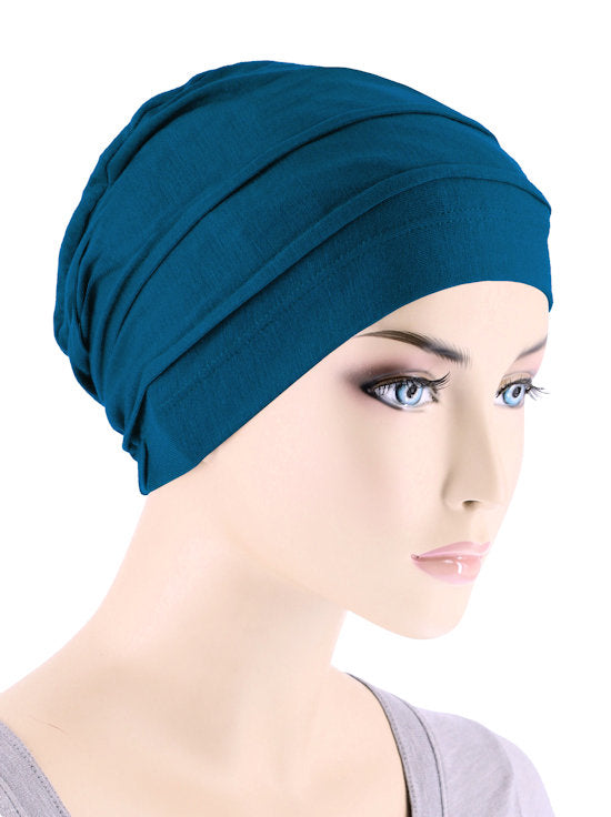 BBPCAP-TEAL#Lux Bamboo Pleated Cap in Teal Blue