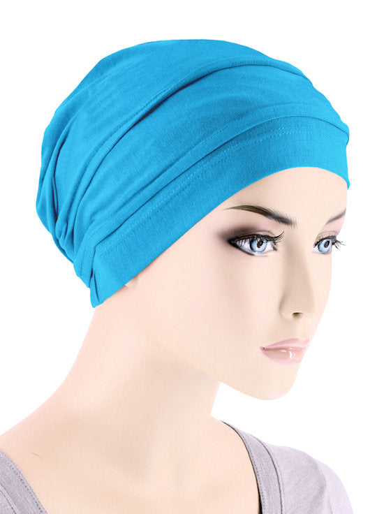BBPCAP-TURQUOISE#Lux Bamboo Pleated Cap in Turquoise