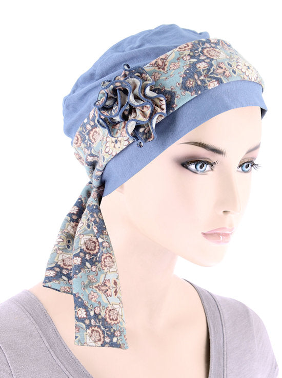 BBCAPSASH-BLUE#Bamboo Cap Rosette Sash Dusty Blue