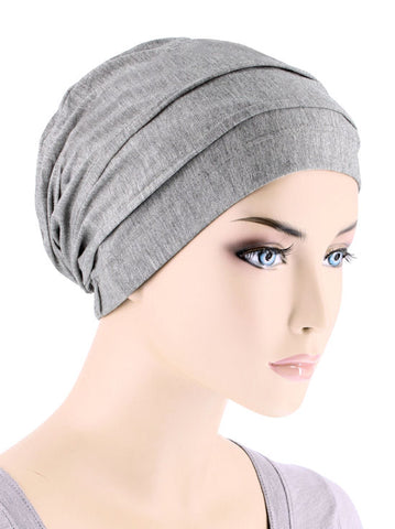 BBPCAP-HEATHERGRAY#Lux Bamboo Pleated Cap in Heather Gray