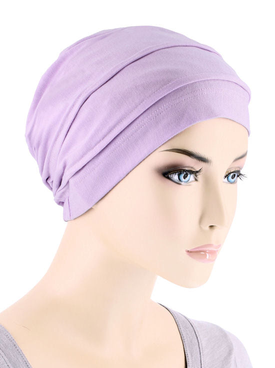 BBPCAP-LILAC#Lux Bamboo Pleated Cap in Lilac Orchid