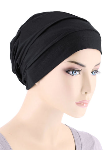 BBPCAP-BLACK#Lux Bamboo Pleated Cap in Onyx Black