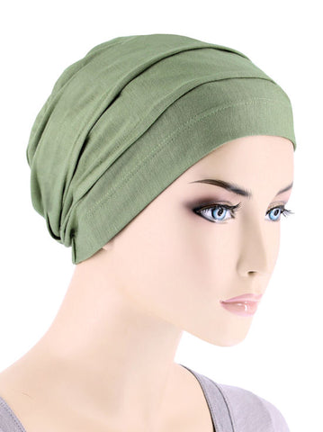 BBPCAP-SAGEGREEN#Lux Bamboo Pleated Cap in Sage Green