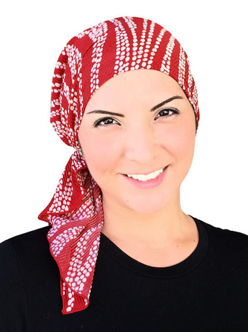BELLA-714#The Bella Scarf Plisse Red Polka Swirl
