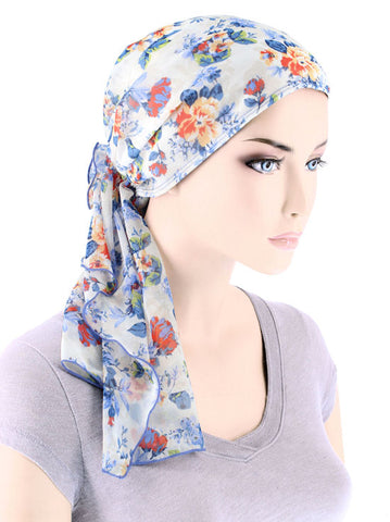 BOHO-363#Bohemian Scarf in Blue Floral