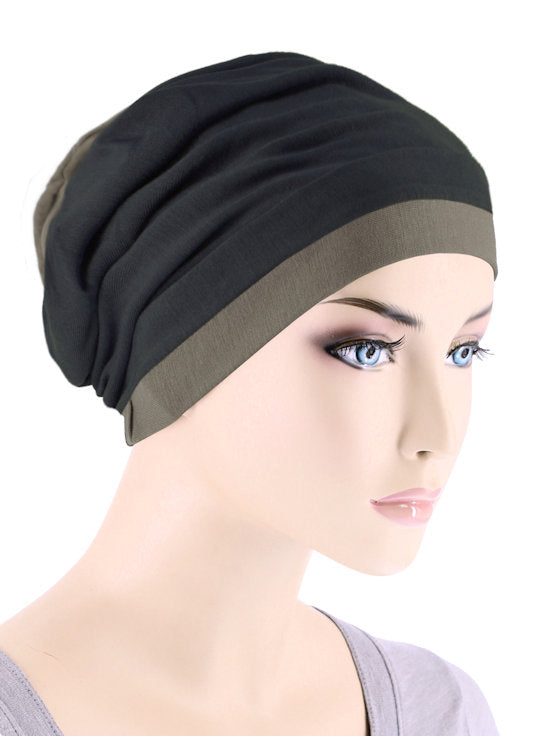 BB2TCAP-BLACKCOCO#Lux Bamboo Reversible 2 Tone Cap Black with Coco