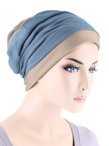 BB2TCAP-DUSTYBEIGE#Lux Bamboo Reversible 2 Tone Cap Dusty Blue with Beige