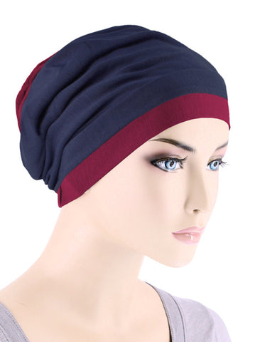 BB2TCAP-NAVYBURGUNDY#Lux Bamboo Reversible 2 Tone Cap Navy with Burgundy