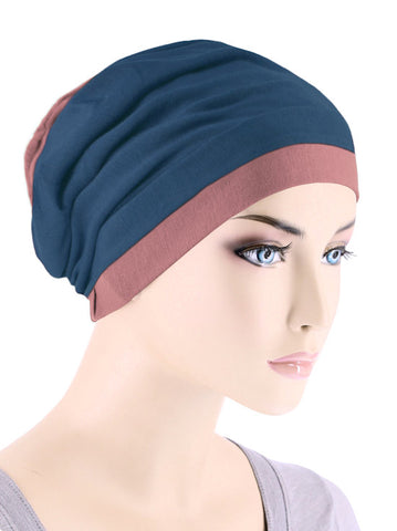 BB2TCAP-TEALROSE#Lux Bamboo Reversible 2 Tone Cap Teal with Rose Pink