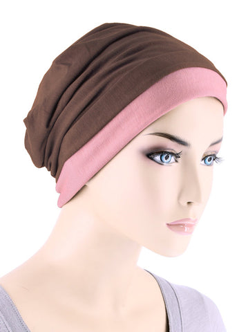 BB2TCAP-BROWNROSE#Lux Bamboo Reversible 2 Tone Cap Brown with Rose Pink