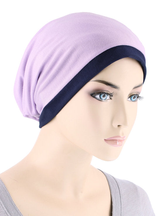 BB2TCAP-NAVYLILAC#Lux Bamboo Reversible 2 Tone Cap Navy with Lilac