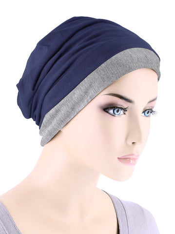 BB2TCAP-NAVYHEATHER#Lux Bamboo Reversible 2 Tone Cap Navy with Heather Gray