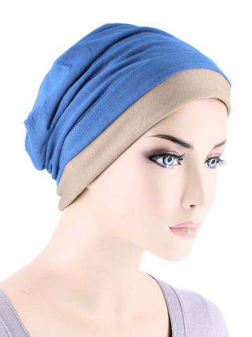 BB2TCAP-PERIWINKLEBEIGE#Lux Bamboo Reversible 2 Tone Cap Periwinkle Blue with Beige