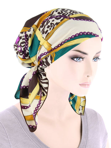 CE-BDNASCARF-909#Bandana Scarf in Vintage Animal Chain