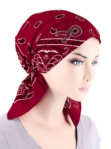 CE-BDNASCARF-PR-RED#Bandana Scarf Pink Ribbon Rhinestone Red