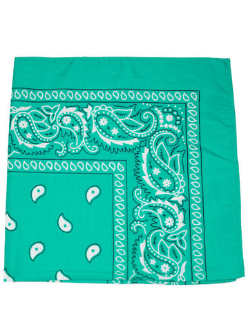 BS12-AQUA#100% Cotton Paisley Bandana Scarf 21 inch Square in Aqua 12 pc Pack