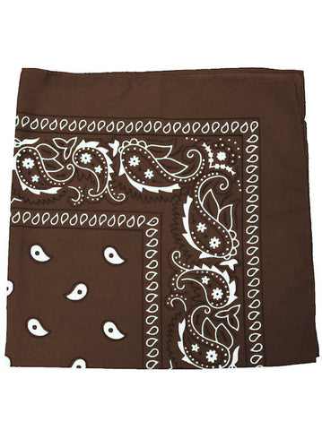 BS12-BROWN#100% Cotton Paisley Bandana Scarf 21 inch Square in Brown 12 pc Pack