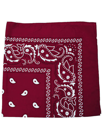 BS12-BURGUNDY#100% Cotton Paisley Bandana Scarf 21 inch Square in Dark Red 12 pc Pack