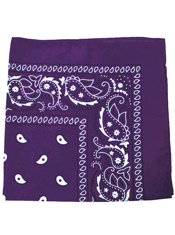 BS12-PURPLE#100% Cotton Paisley Bandana Scarf 21 inch Square in Deep Purple 12 pc Pack