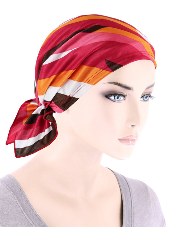 CE-BDNASCARF-904#Bandana Scarf in Red Stripe