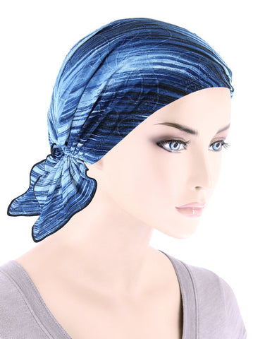 CE-BDNASCARF-905#Bandana Scarf in Blue Stripe