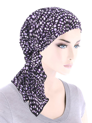BELLA-766#The Bella Scarf Plisse Purple Spiral Dot