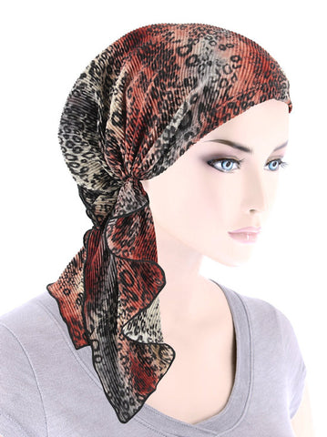 BELLA-768#The Bella Scarf Plisse Gray Rust Leopard