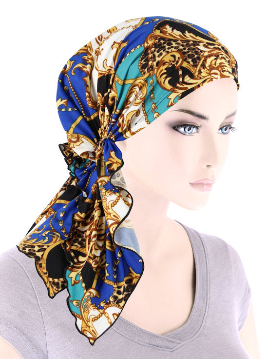 BELLA-774#The Bella Scarf Blue Leopard Baroque Status