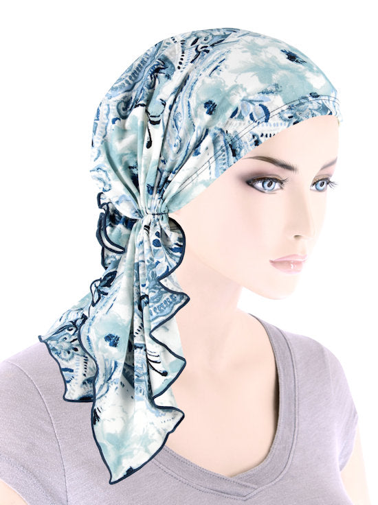 BELLA-775#The Bella Scarf Blue Paisley Water Floral