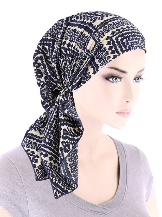 BELLA-777#The Bella Scarf Navy Beige Geometric