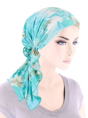 BELLA-779#The Bella Scarf Green Water Floral