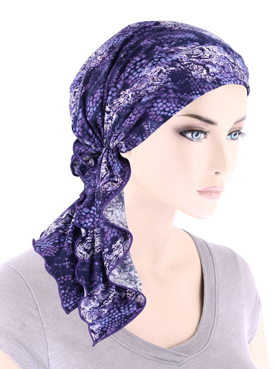 BELLA-788#The Bella Scarf Purple Snakeskin