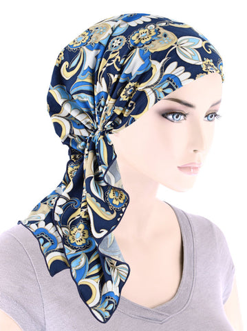 BELLA-789#The Bella Scarf Peacock Blossom Blue