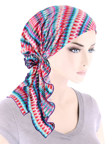 BELLA-792#The Bella Scarf Hot Pink Tye Dye Stripe