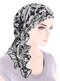 BELLA-793#The Bella Scarf Black White Floral Paisley