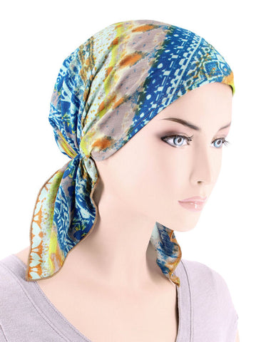 CE-BDNASCARF-902#Bandana Scarf in Blue Tribal Stripe