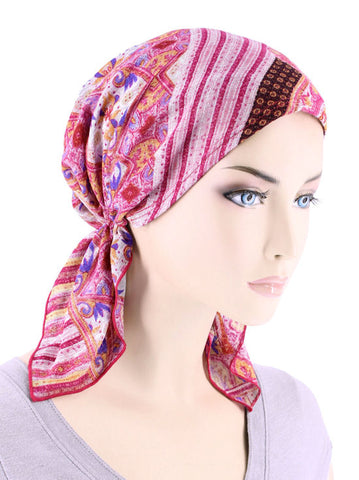 CE-BDNASCARF-903#Bandana Scarf in Pink Patchwork Royale