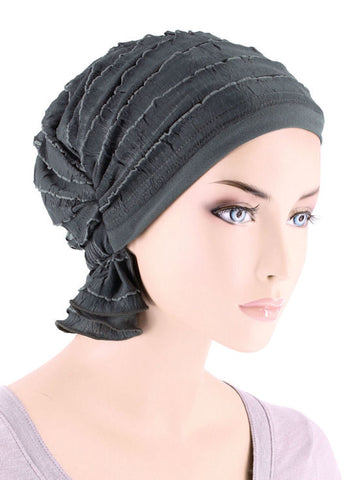 ABBEY-518#The Abbey Cap in Ruffle Charcoal Gray