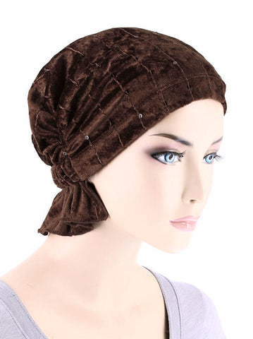 ABBEY-614#The Abbey Cap in Stretch Velour Dark Brown